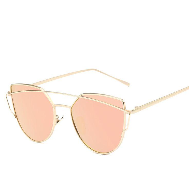 Gato olho Mulheres Óculos De Sol 2017 Novo Design Da Marca Espelho Plano de Ouro Rosa Do Vintage Cateye Moda UV400 óculos de sol óculos de sol Óculos lady