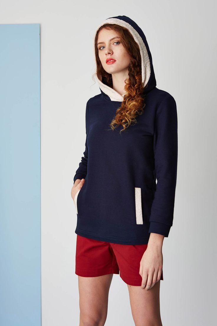 Dark blue & pale pink hoodie. Kamila Gronner spring/summer 2015.