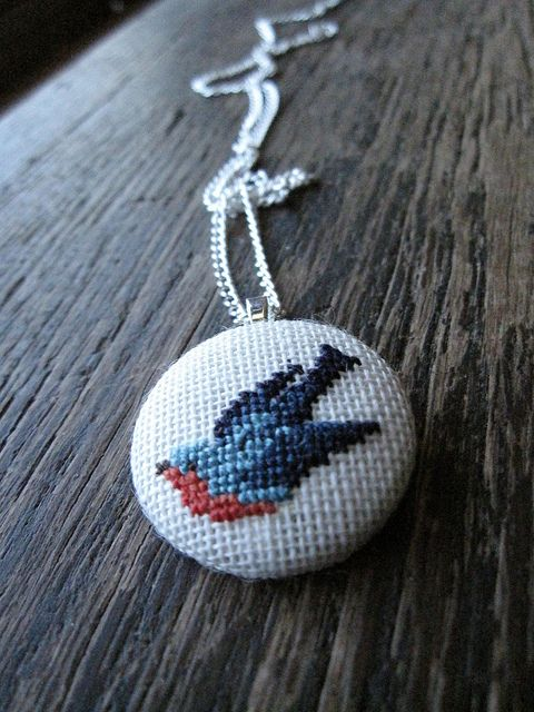 cross stitched necklace