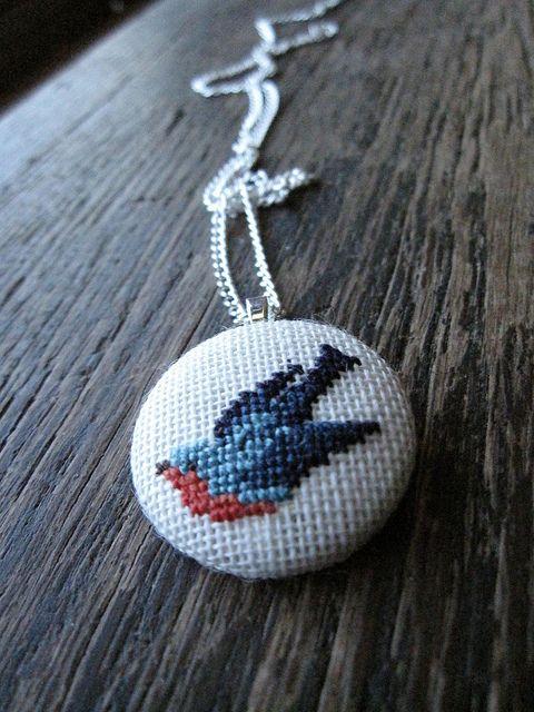 Dirty Bird Cross Stitch Pendant   Flickr - Photo Sharing!