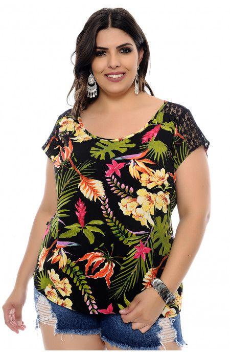 08778a5133 Blusa Plus Size Summer Estampada em 2019
