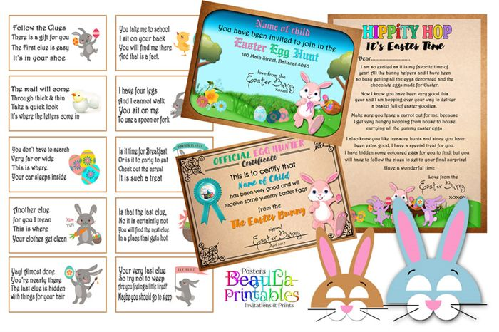 Letter from Easter Bunny, Scavenger Clues, Hunter Certificate, Download & Print