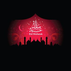 Vector Abstract Eid Mubarak red background with Arabic Script floral art and silhouette mosque under the Eid moon