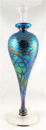 Iridescent Spider Art Glass Perfume Bottle