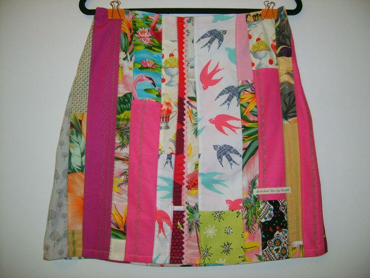 Size 10 Pink Patchwork Skirt by StitchedUpBySmith on Etsy