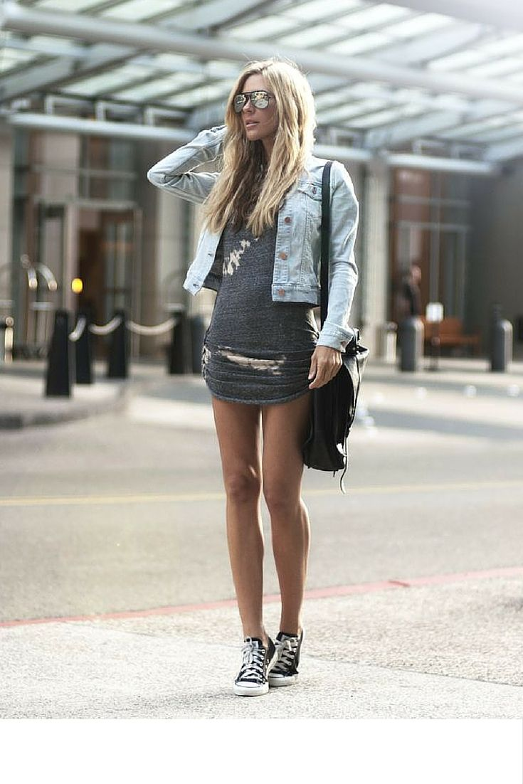 Basically looks like this dress denim jacket converse example - Sneakers And Pearls Street Style Casual Look Grey Fitted Dress With Denim Jacket And Converse Shoes Trending Now
