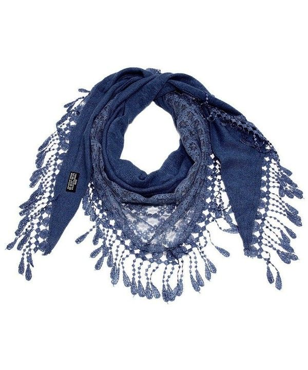 318caa8ba70 Women Lace Scarf Triangle With Fringes Polyester 70