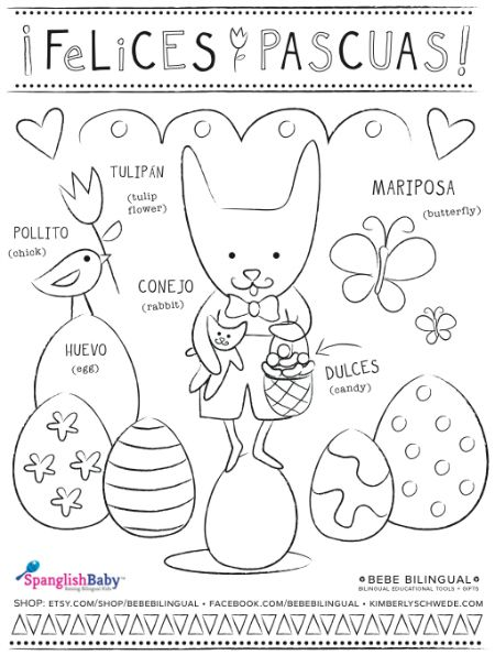 Felices Pascuas (Happy #Easter!) coloring sheet in Spanish, #printable by Bebe Bilingual - SpanglishBaby.com