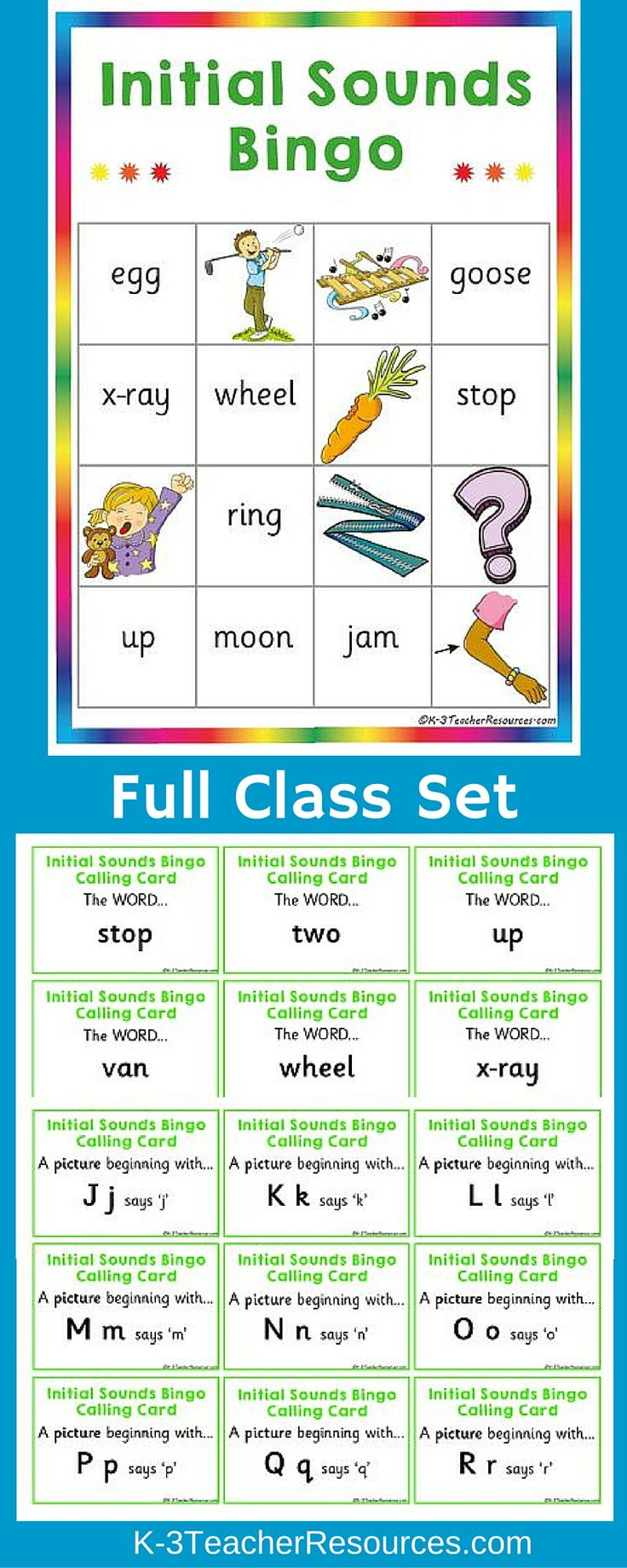 *30 x initial alphabet sounds bingo boards with images and words. *52 calling cards *Ideal for whole class or small groups.