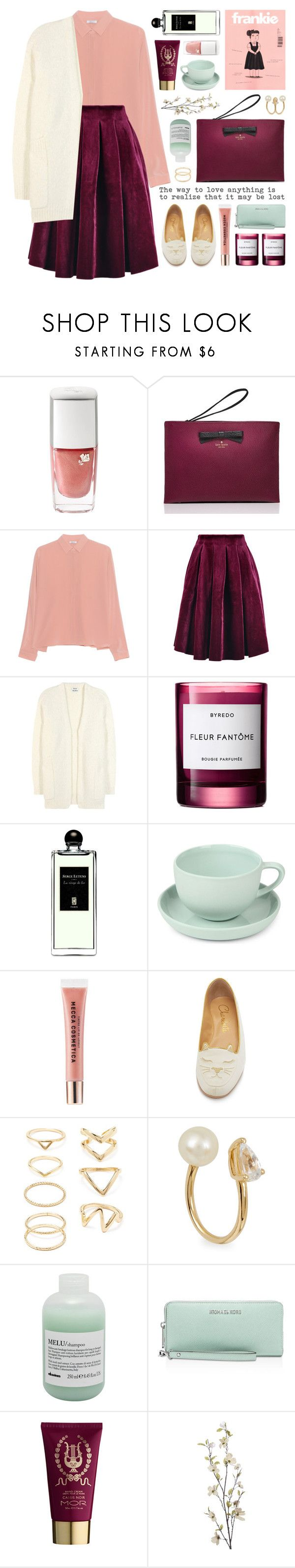 """pleated velvet skirt"" by jesuisunlapin ❤ liked on Polyvore featuring Lancôme, Kate Spade, iHeart, Maje, Acne Studios, Byredo, Serge Lutens, Mud Australia, Charlotte Olympia and Forever 21"