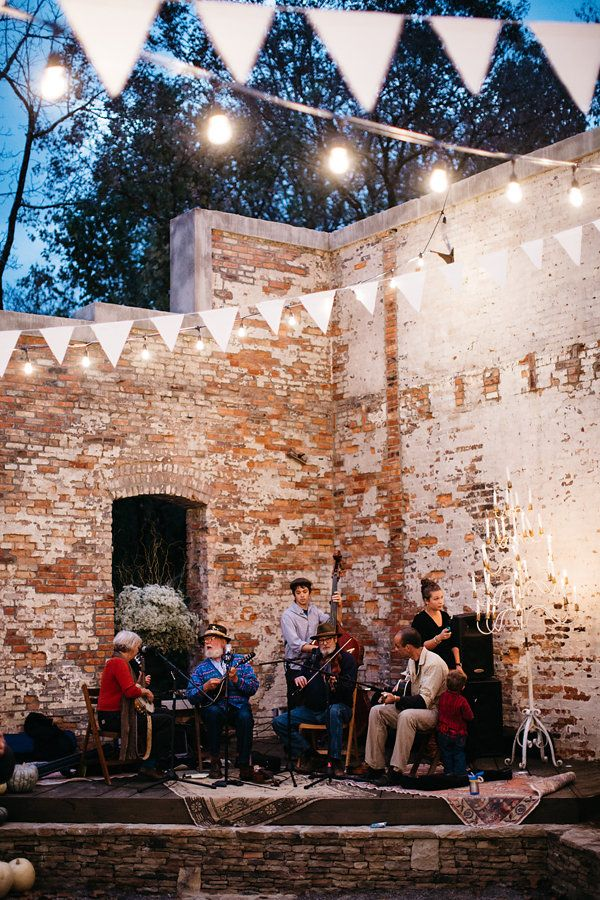 Exposed brick and light fixtures featured at this North Carolina Mountain Wedding // Photographer: Michelle Lyerly #weddingvenues #weddings #lights