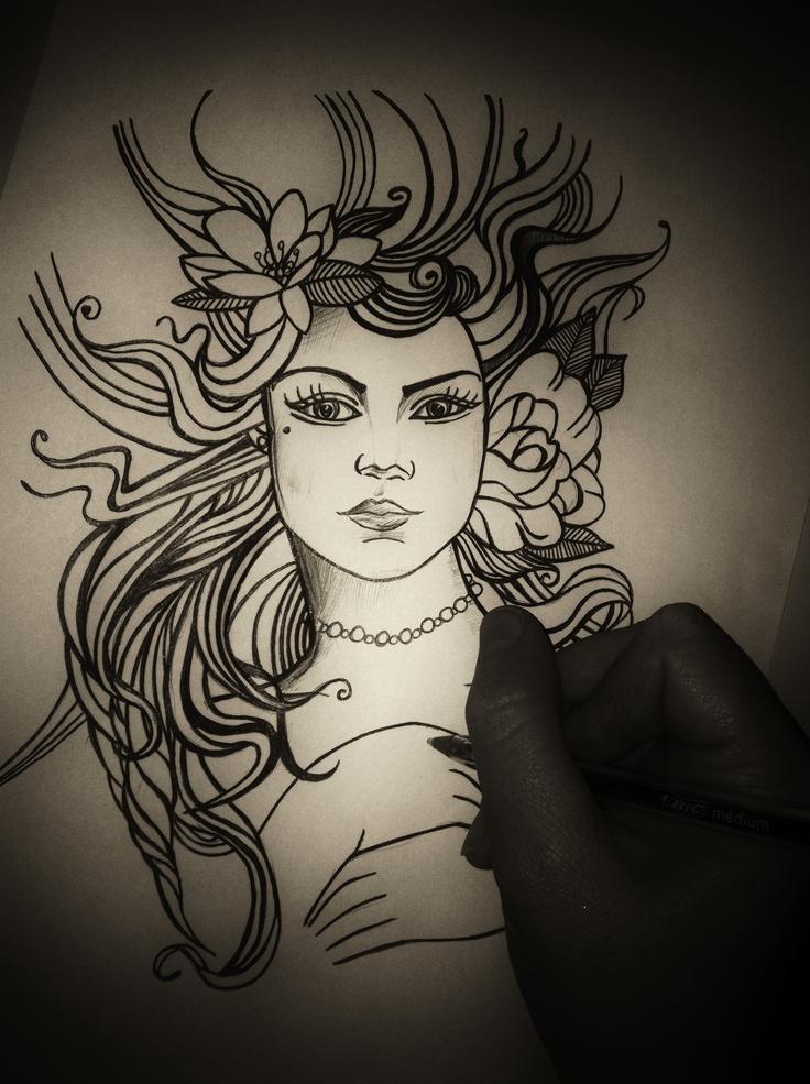 Black Biro Drawing - Kelly Strong's Design ©