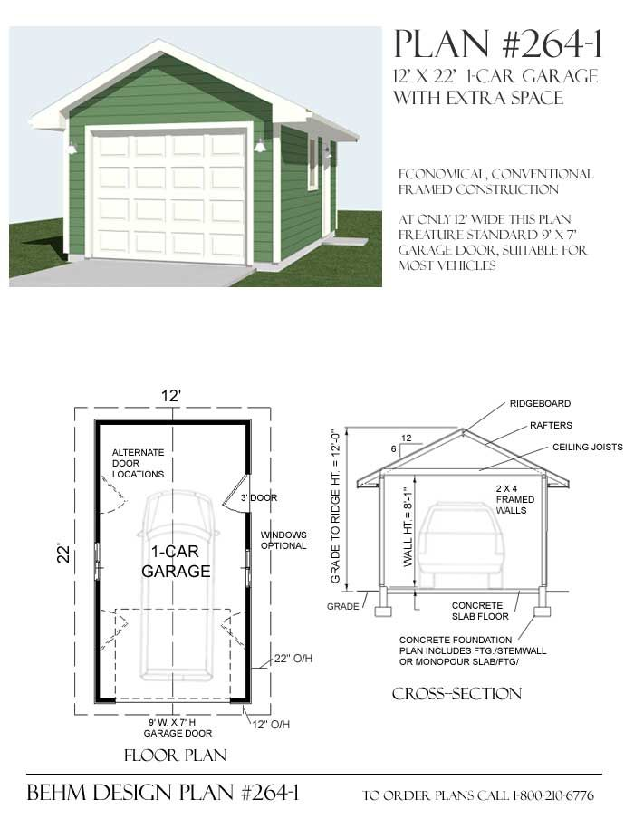 1 Car Basic Garage Plan With One Story 264 1 12 X22 By Behm Garage Shop Plans Garage Plans Garage Plan