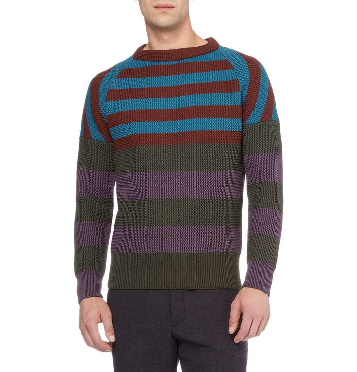 Burberry ProrsumStriped Knitted Wool-Blend Sweater