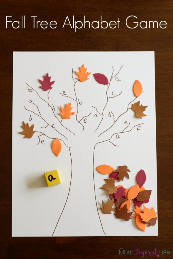 A fall alphabet activity for preschool. Letter learning game for fall.