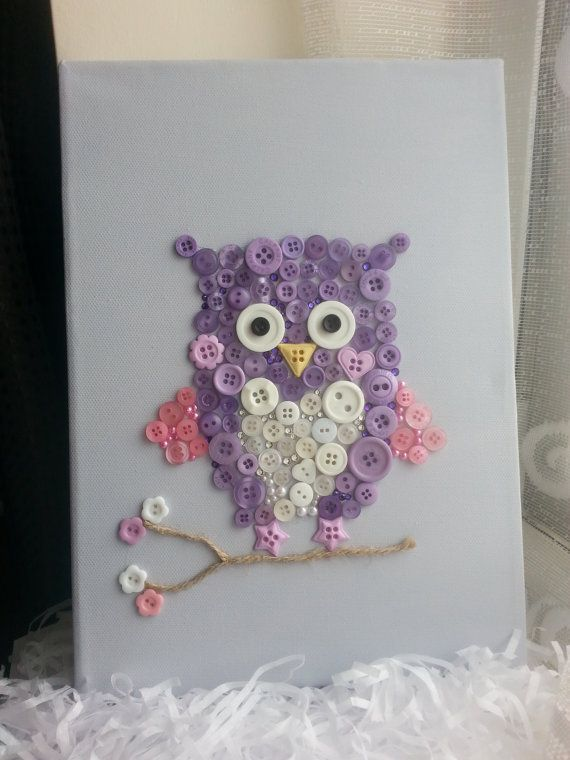 Owl Canvas Button Art Personalised van SharonsHandmadeGifts op Etsy, £15.00