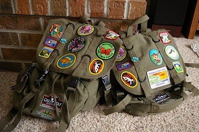 Where We've Been Bags--buy a patch at all the vacation spots for a great memory! Could even be a simple book bag.