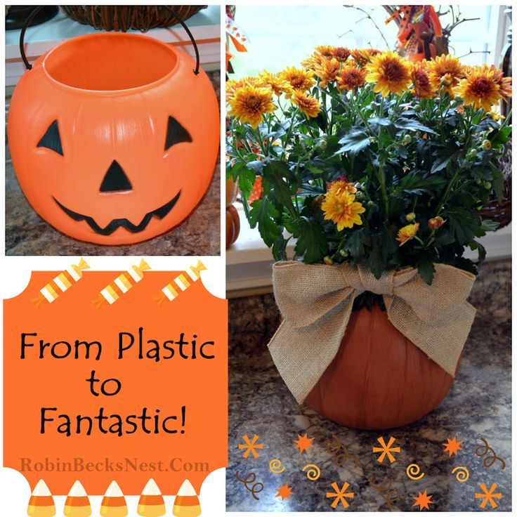spray paint cheap plastic halloween buckets to create lovely pumpkin vases i have hundreds of - Large Plastic Pumpkins