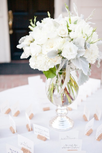 Romantic White Centerpiece with just a smidge of color.