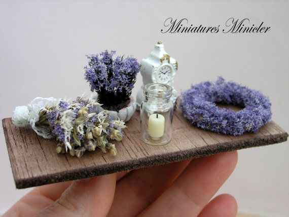 Miniature Dollhouse Lavender Decoration Set Board by Minicler, $24.84