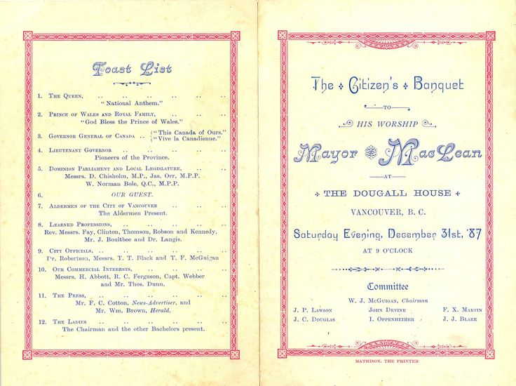 Invitation and menu for the Citizen's Banquet to his Worship Mayor Maclean. Robert Mathison, printer. Vancouver, December 31, 1887.
