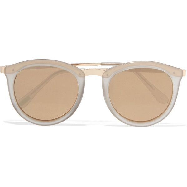 Le Specs No Smirking round-frame acetate and gold-tone mirrored... (€97) ❤ liked on Polyvore featuring accessories, eyewear, sunglasses, gold, le specs sunglasses, mirrored sunglasses, clear round glasses, round glasses and clear lens glasses