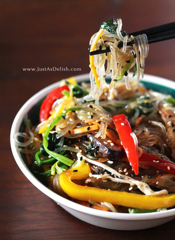 Korean Vegetable Japchae (Stir Fry Vermicelli). One of the favourite traditional dish in Korea