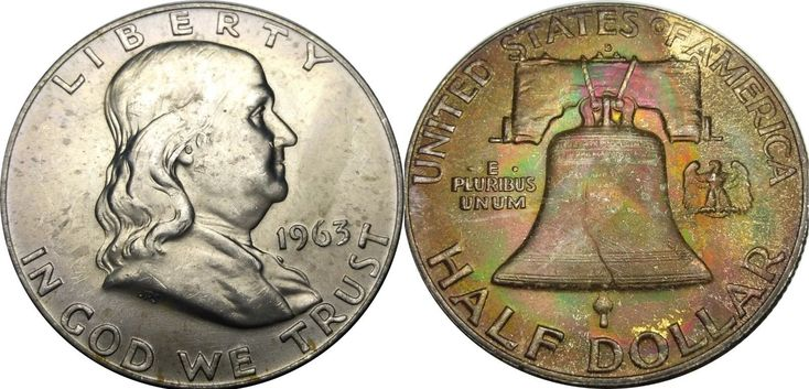 Rainbow End of Roll Toned 1963-D Franklin Half Dollar - NGC MS-63