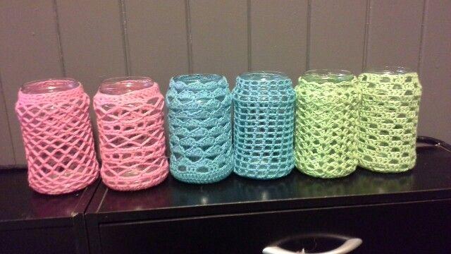 Crochet t-light covers old jam jars.