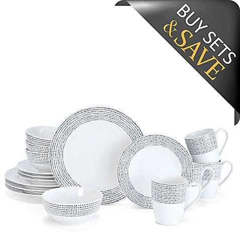 Mikasa® Daylen 16-Piece Dinnerware Set in Cobalt, BB&B $120 for 16-piece set, less 20% is $96, so service for 8 is under $200