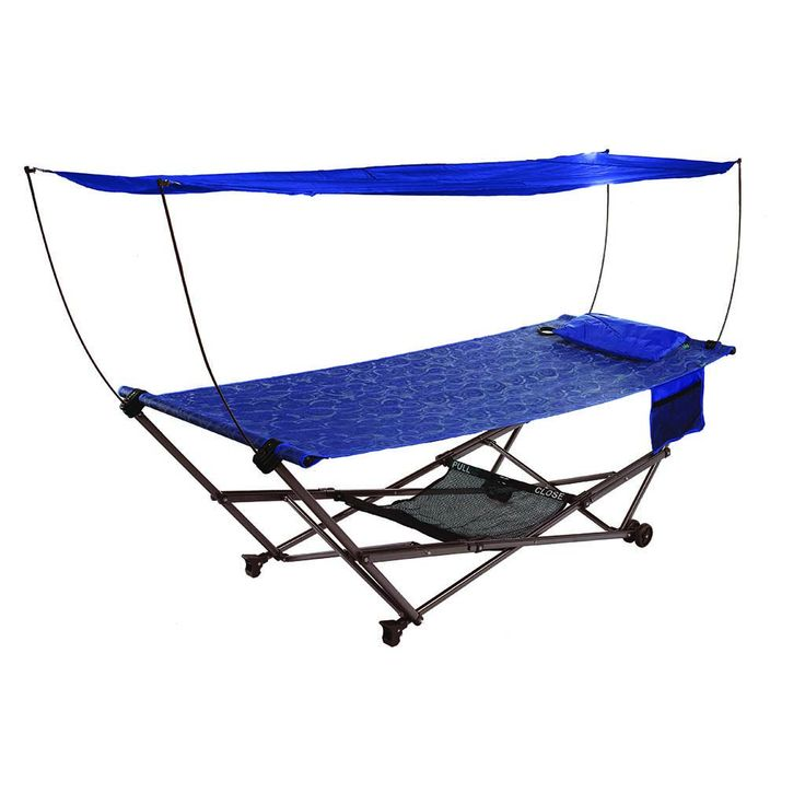 STOW-EZ Portable Hammock + Stand with Canopy: Blue: Bliss Hammocks
