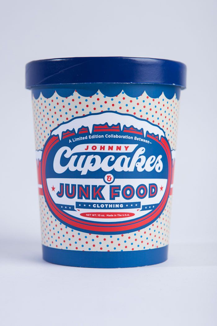The packaging for the Ice Cream Pint was designed by Clark Orr of Johnny Cupcakes and Demetrius May of Junk Food Clothing designed the Push Pop Packaging.