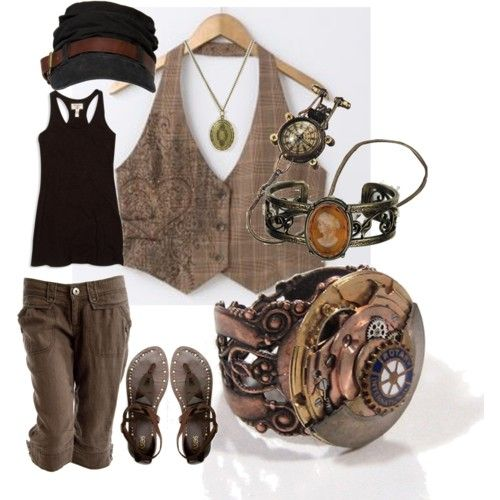 Just add a capped shirt and BAM! Awesome modest steam punk!