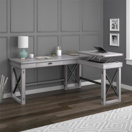 Ameriwood Home Wildwood L Shaped Desk With Lift Top Rustic White Red Products White L Shaped Desk L Shaped Desk Desk