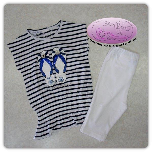 Completo neonata da 12 a 30 mesi della Dodipetto costituito da maximaglia manica corta con arricciatura e leggings.