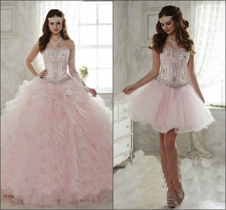 real photo 2017 Light Pink Quinceanera Dress Ball Gown Sweetheart Detachable Ruffled Train 15 year girl Quinceanera Gown