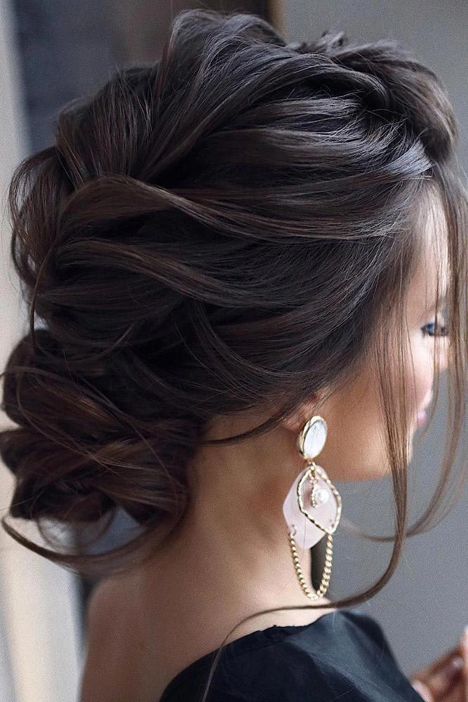 Curly Wedding Hairstyles Textured Low Bun On Dark Medium Hair Tonyastylist Hairstylesforcurlyhair Long Hair Styles Hair Styles Bridal Hair Updo