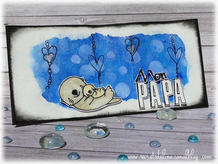 card bokeh watercolor heart fatherday carte loutre bokehfete des peres #secretsdelina #DIY