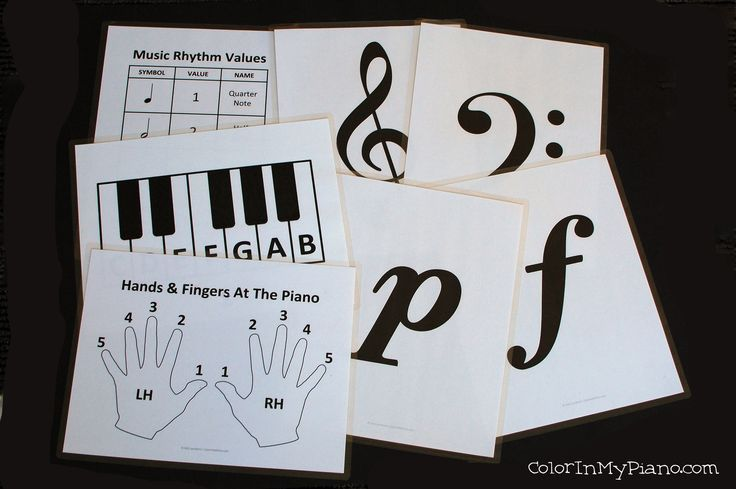 Free music signs to hold up during teaching or hang on the wall - perfect for beginner students!