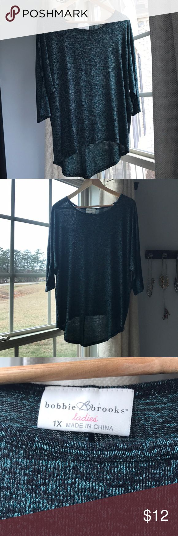 Bobbie Brooks slouchy top Bobbie Brooks slouchy top! Size 1X. Green and black mixed thread. So soft and comfy! Pairs perfectly with leggings! Bobbie Brooks Tops Tees - Long Sleeve