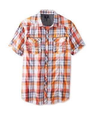 42% OFF Union Jeans Men's Short Sleeve Blitz Plaid Shirt (Orange)