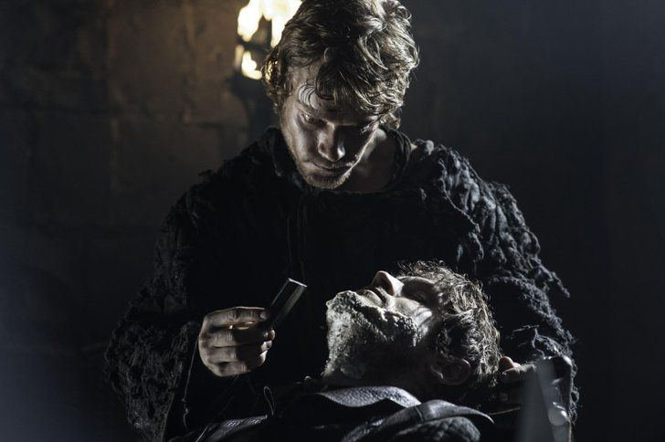 "Pin for Later: Age Investigation: How Old Are the Game of Thrones Characters — and Actors? Theon Greyjoy ""Reek,"" Played by Alfie Allen  Age at the start of the books: 19 Allen's age in real life: 29"