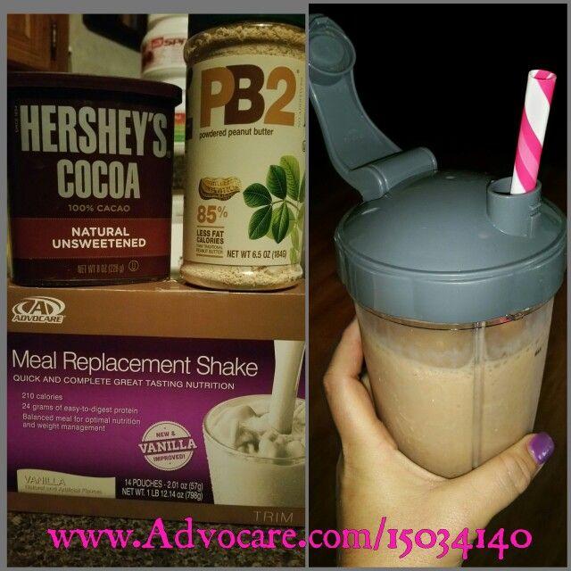 Advocare Vanilla MRS + 2tsp PB2 + 1tsp Unsweetened cocoa = HEAVEN.   www.Advocare.com/15034140