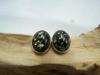 Oval green amber stud earrings - amber studs.