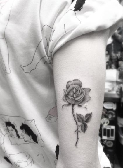 Blackwork Rose Tatto on Tricep by Doctor Woo