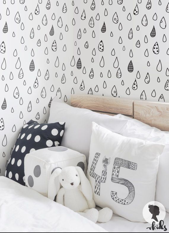 Beautiful Self Adhesive Removable Wallpaper By Livettes Kids With This Raind Drop Wallpaper You Can Create A Scandinavian Design Kids Room Interior In Just