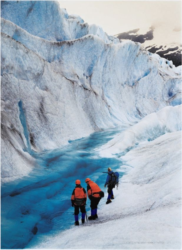 Caminata por un glaciar