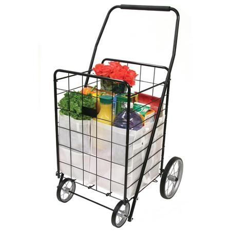 4-Wheel Deluxe Folding Shopping Cart, Black $19