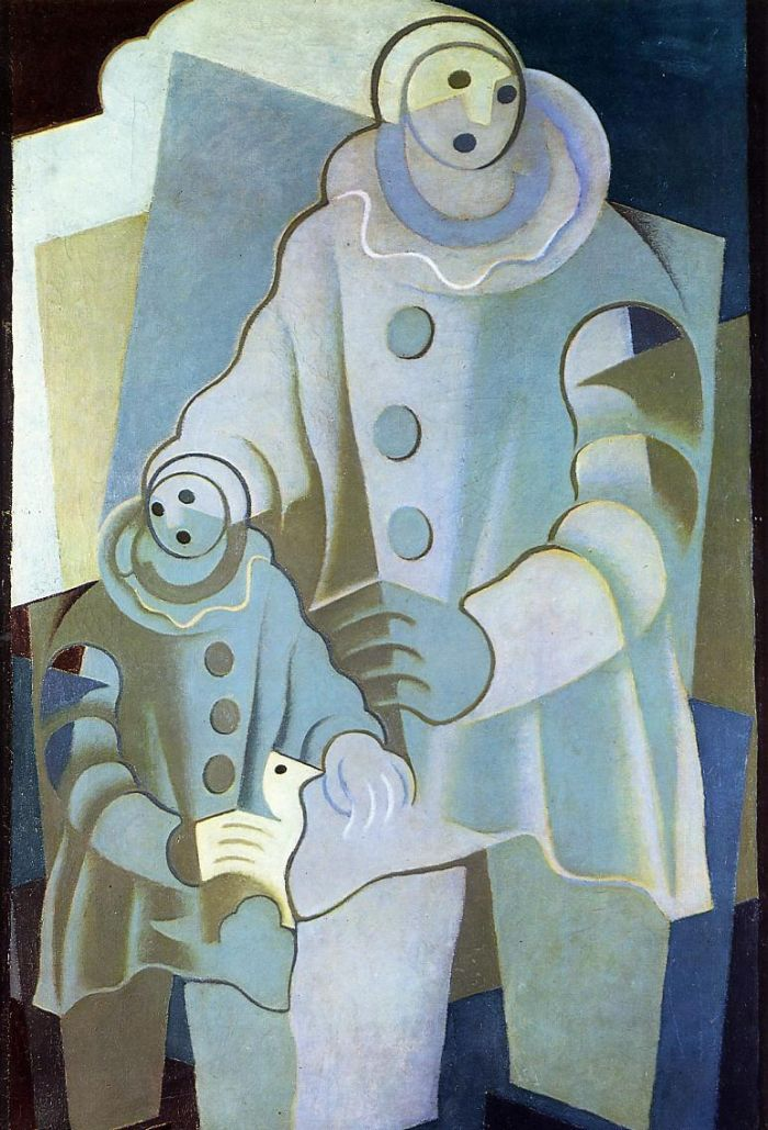Two Pierrots by Juan Gris, 1922. Art Experience NYC www.artexperiencenyc.com/social_login/?utm_source=pinterest_medium=pins_content=pinterest_pins_campaign=pinterest_initial