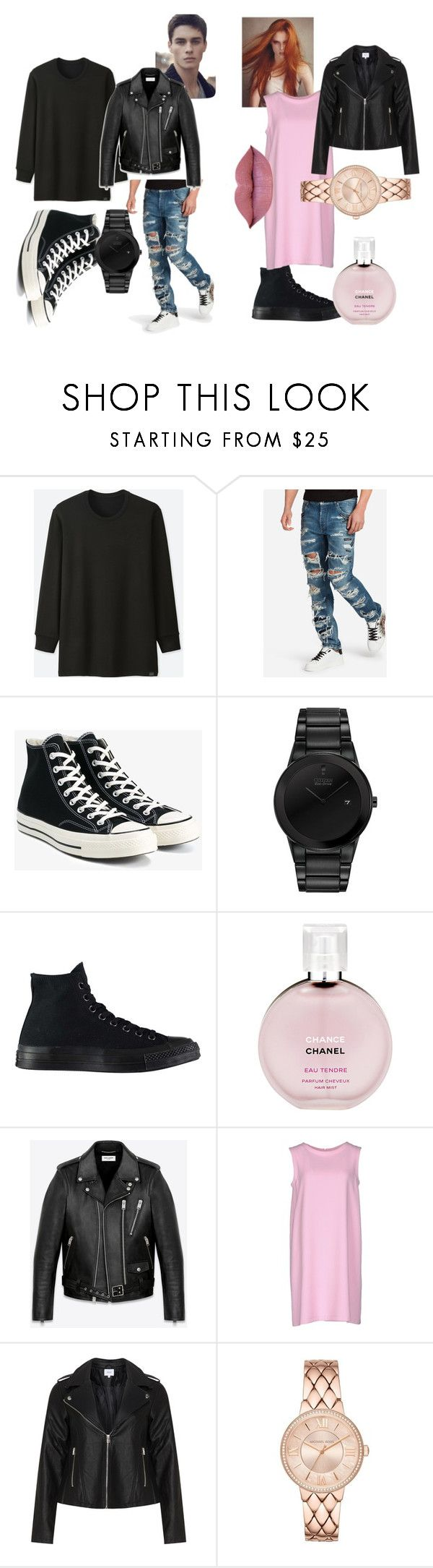 """""""power couple"""" by mdeztinay ❤ liked on Polyvore featuring Uniqlo, Dolce&Gabbana, Converse, Citizen, Chanel, Yves Saint Laurent, Gianluca Capannolo and Zizzi"""